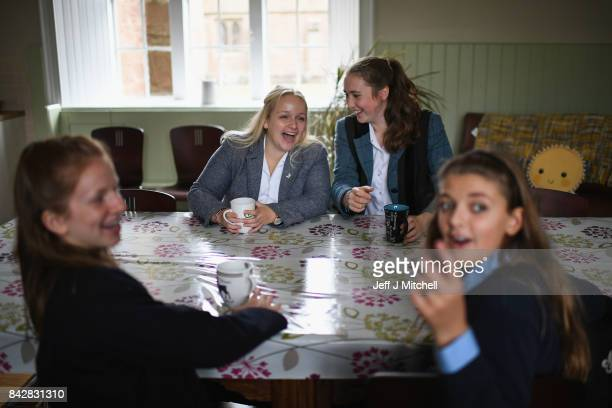 School girls arrive at Glenalmond College for the first day of term on September 5 2017 in Glenalmond Scotland For the first time in one hundred and...