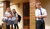 School girls bullying school boy