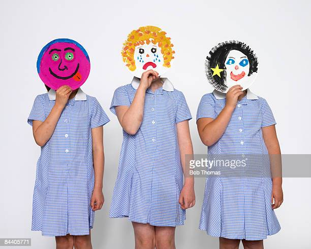 School Girls With Painted Plates