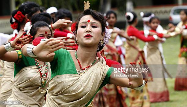 School girls perform traditional Bihu dance on Assam Bihu Festival on April 14 2015 in Majuli Island India