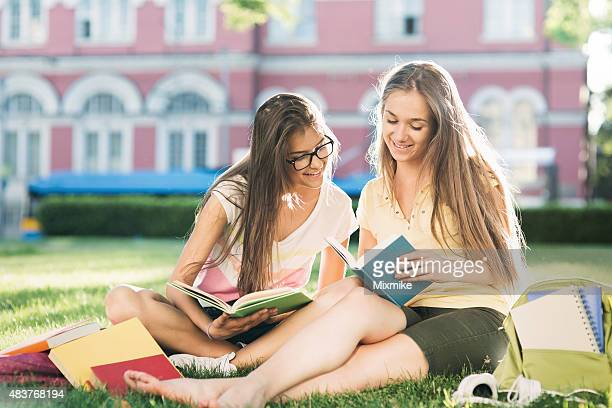 School girls studying in the campus