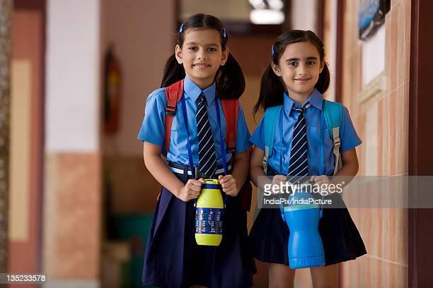 School girls walking together