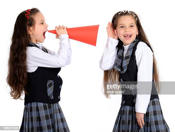 school girls with megaphone