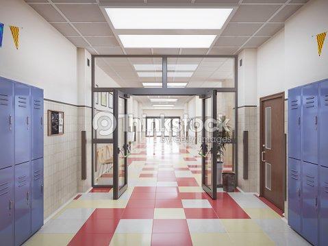 school hallway interior 3d illustration : Stock Photo