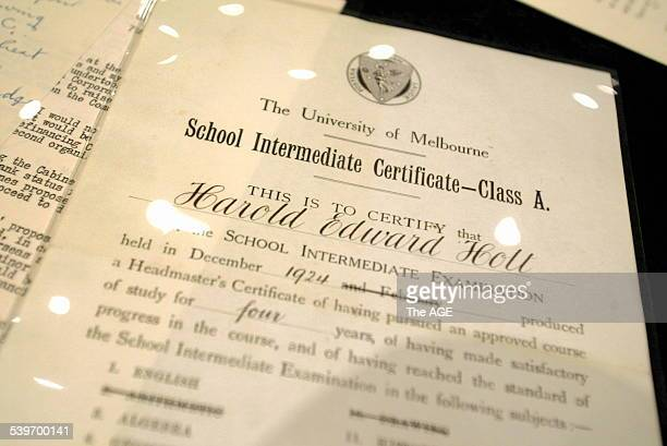 School Intermediate Certificate [year 11] from Harold Holt breifcase on display at National Archives in Nth Melb 12 August 2005 THE AGE NEWS Picture...