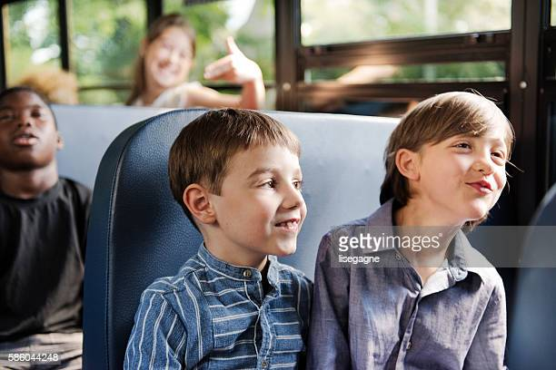 School kids on school bus