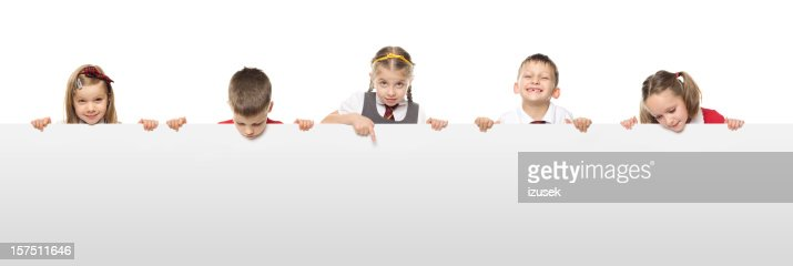 School Kids With A Blank White Board