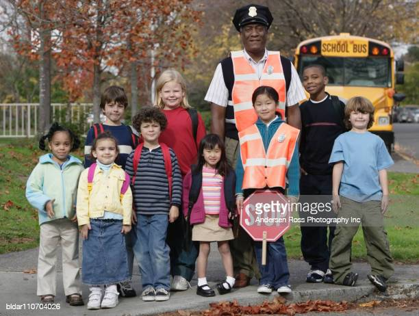School Kids with Crossing Guard