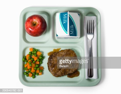 School lunch tray, against white background, overhead view