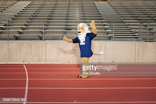 School mascot on running track