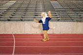 School mascot on running track