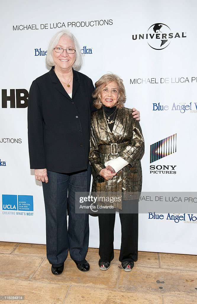 School of Theater, Film and Television Dean Teri Schwartz (L) and voice actress June Foray arrive at the UCLA Animation Workshop Festival of Animation at the James Bridges Theater at Melnitz Hall on the UCLA campus on June 4, 2011 in Los Angeles, California.