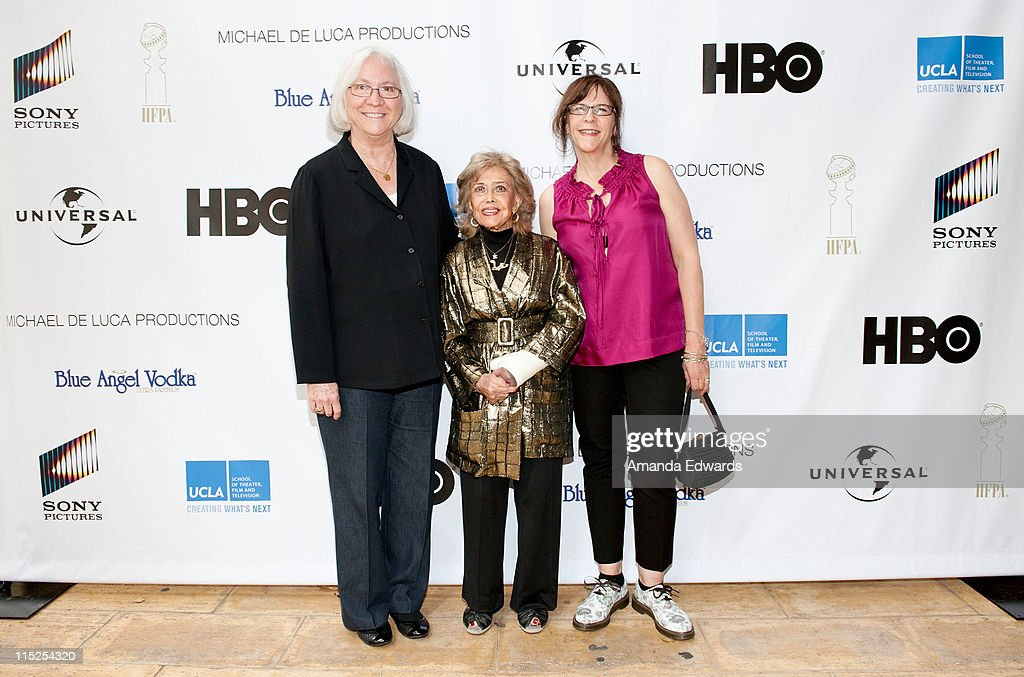 School of Theater, Film and Television Dean Teri Schwartz, voice actress June Foray and UCLA Area Head of Animation Celia Mercer arrive at the UCLA Animation Workshop Festival of Animation at the James Bridges Theater at Melnitz Hall on the UCLA campus on June 4, 2011 in Los Angeles, California.