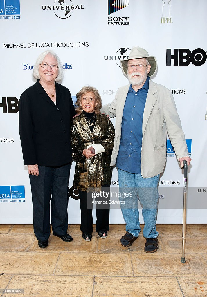 School of Theater, Film and Television Dean Teri Schwartz, voice actress June Foray and animator Dan McLaughlin arrive at the UCLA Animation Workshop Festival of Animation at the James Bridges Theater at Melnitz Hall on the UCLA campus on June 4, 2011 in Los Angeles, California.