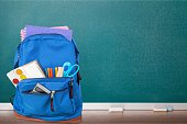 Blue School Backpack  on   background.