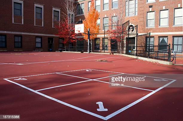 School playground with four square court