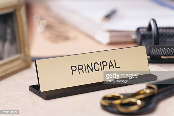 School Principal Nameplate on a Desk
