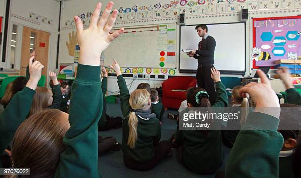 School pupils at the Bridge Learning Campus answer questions in a classroom at the school on February 24 2010 in Bristol England The 40million GBP...