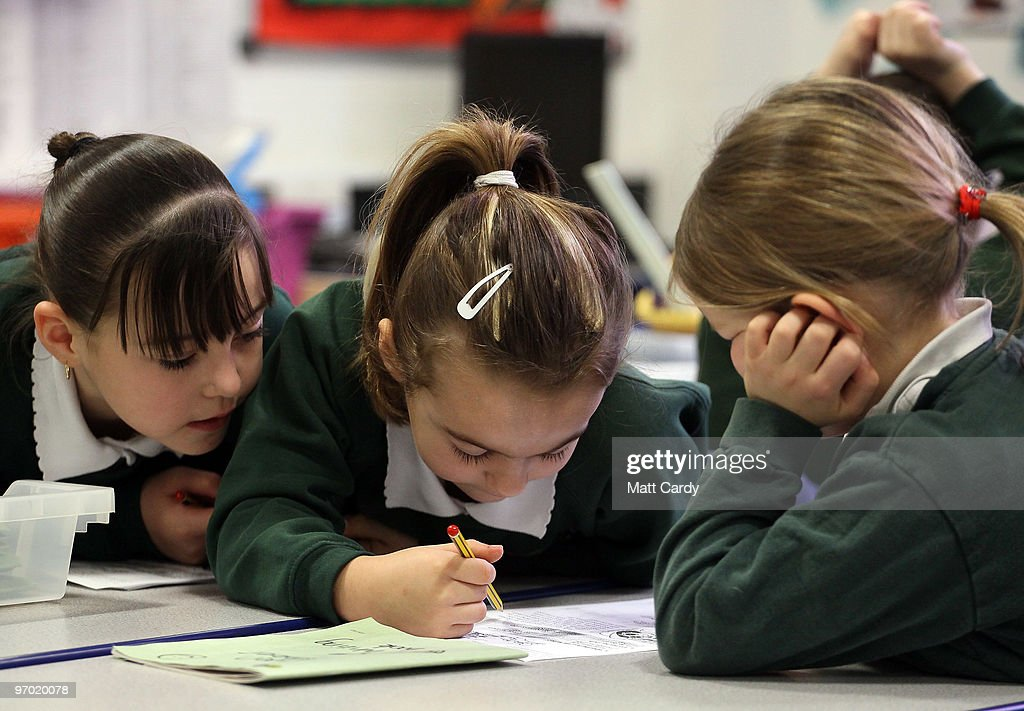 School pupils at the Bridge Learning Campus work together in a classroom at the school on February 24, 2010 in Bristol, England. The 40million GBP campus in Hartcliffe, Bristol, was constructed as part of the Government's Building Schools for the Future programme and opened in January 2009. It now offers over 800 pupils a life long provision of learning from nursery, reception and primary to secondary and post-16 education. As the UK gears up for one of the most hotly contested general elections in recent history it is expected that that the economy, immigration, the NHS and education are likely to form the basis of many of the debates.