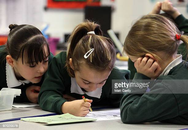 School pupils at the Bridge Learning Campus work together in a classroom at the school on February 24 2010 in Bristol England The 40million GBP...