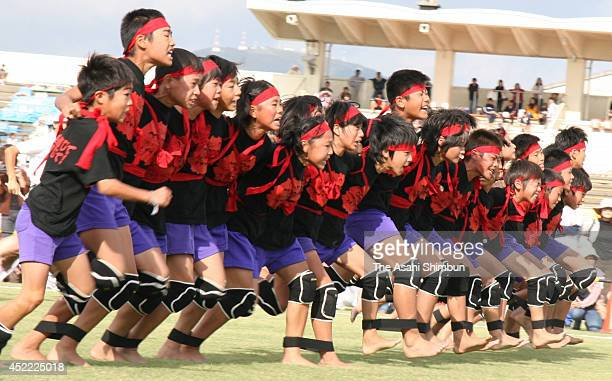 TOKYO JAPAN School pupils of Motoyama Elementary School participate in threelegged race of 30 people on Ocotber7 2006 in Hofu Yamaguchi Japan