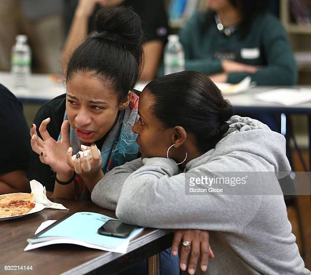 School social worker Anne Mondesir right listens as 17yearold Carolyn De Jesus expresses her angst during the inauguration of Donald Trump on Jan 20...