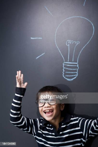 School student portrait with blackboard