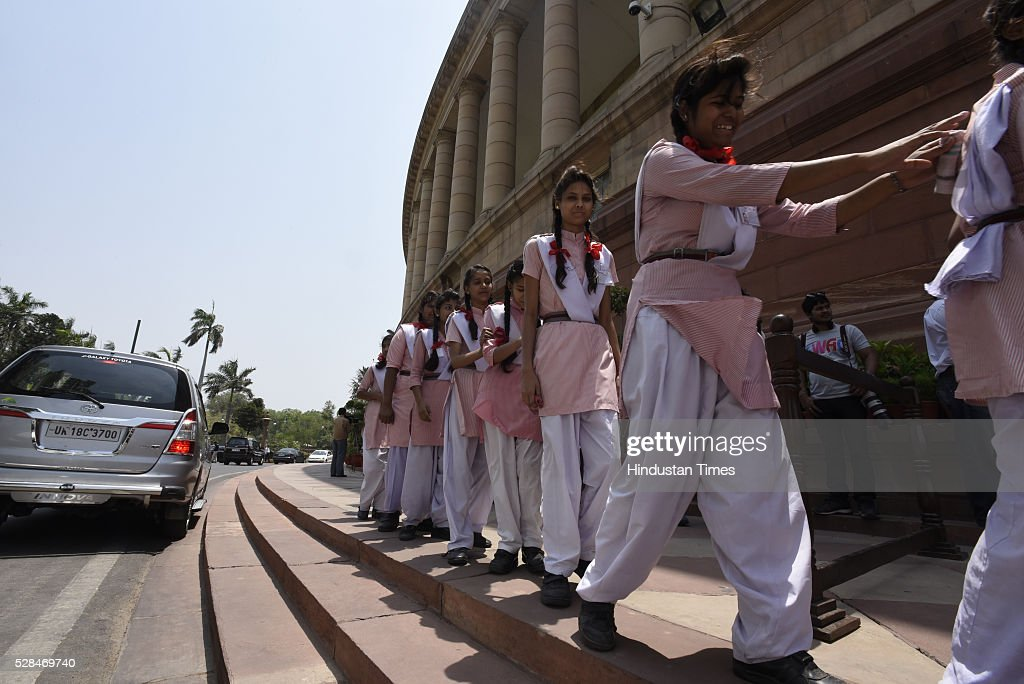 School Student arrive at the Parliament house on May 5, 2016 in New Delhi, India. The Lok Sabha has passed the Insolvency and Bankruptcy code 2016 with all the amendments proposed by the joint committee of Parliament being accepted by the government.