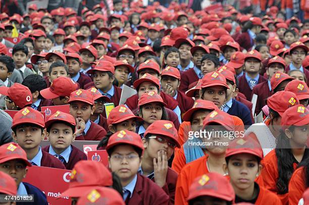 school students participate in the Road safety march organised by Delhi Traffic police on road safety during the Road Safety week at Raj Path on...