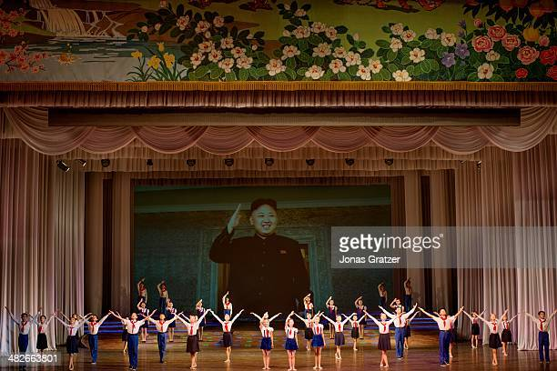 School students perform a musical at the Cultural Centre in Pyongyang and pay their respects to the current leader of North Korea Kim Jong Un 60...