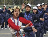 School students rehearse for Republic Day parade at Rajpath on January 12 2014 in New Delhi India Republic Day is celebrated every year on 26 January...