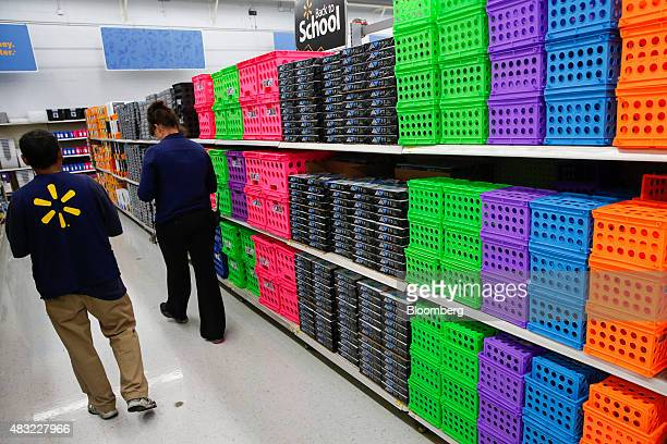 School supplies are displayed for sale at a WalMart Stores Inc location in the Porter Ranch neighborhood of Los Angeles California US on Thursday Aug...