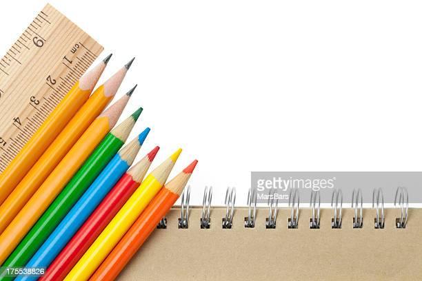 Materiale scolastico angolo bordo