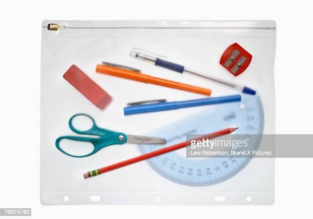 School supplies in pencil case