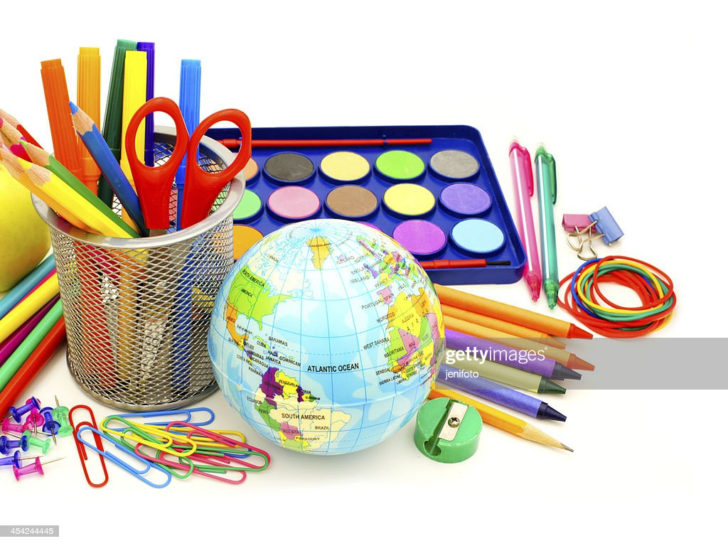 School supplies over white : Stock Photo