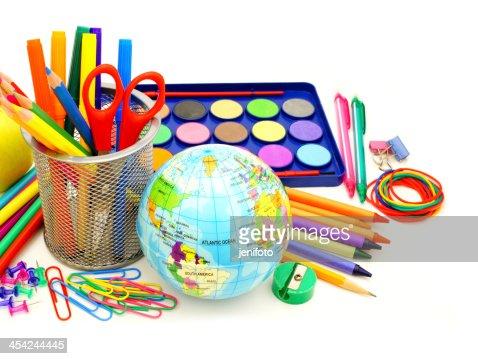 School supplies over white : Stock Photo