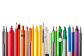 """School supplies. Pencils, ballpoint pens, brush, colored pencils, cutter, highlighter, compass, chalk, pastel crayon. Photography in high resolution.Similar pictures from my portfolio:"""