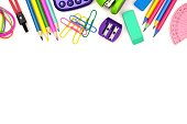 School supplies top border isolated on a white background
