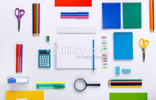 School supplies with a notebook with blank pages : Stock Photo