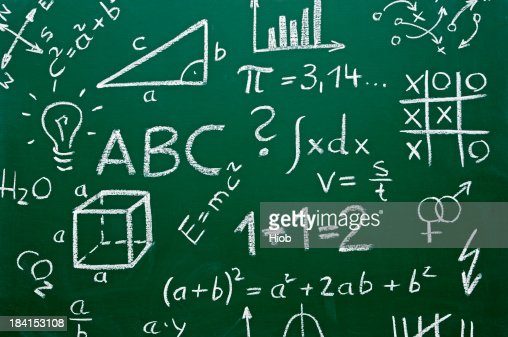 school symbols on a chalkboard