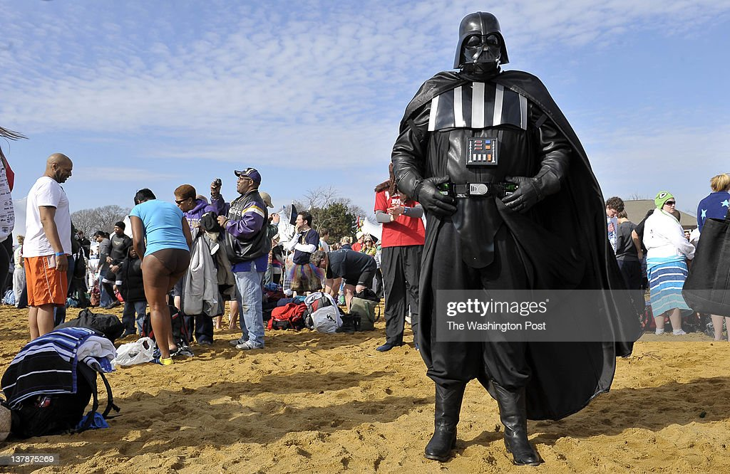 A school teacher dressed as Stars Wars villain Darth Vader makes his appearance known at the 16th Annual Maryland State Police Polar Bear Plunge where, for just $50 in pledges, Plunge participants take a quick dip in the Chesapeake Bay to raise funds for Special Olympics Maryland, the stateÕs largest year-round organization devoted to sports training and competition for children and adults with intellectual disabilities in Annapolis, Maryland on January 28, 2012.
