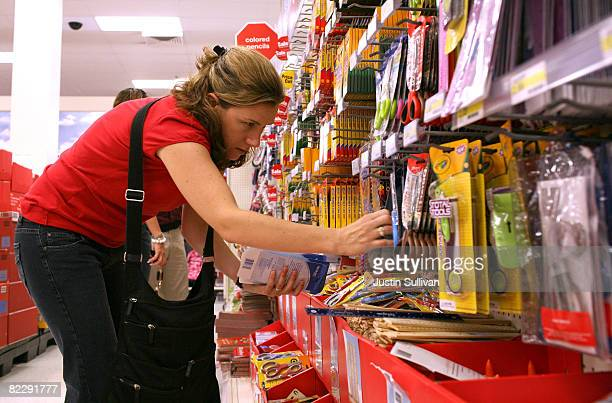 School teacher Liza Gleason shops for back to school supplies at a Target store August 13 2008 in Daly City California With stores gearing up for...