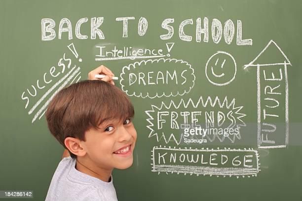 Schoolboy In Front Of Blackboard