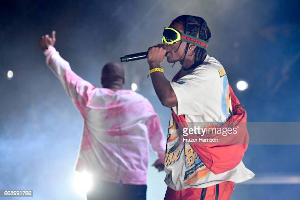 ScHoolboy Q and A$AP Rocky performs at the Outdoor Stage during day 2 of the Coachella Valley Music And Arts Festival at the Empire Polo Club on...