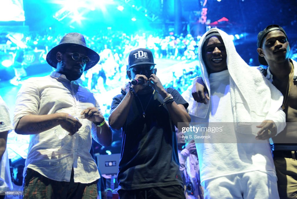 Schoolboy Q, Kendrick Lamar and A$AP Rocky perform during HOT 97 Summer Jam XX at MetLife Stadium on June 2, 2013 in East Rutherford, New Jersey.