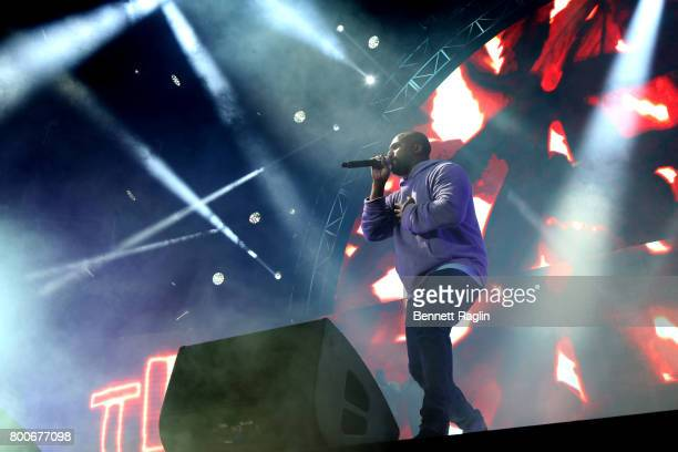 ScHoolboy Q performs onstage at night three of the STAPLES Center Concert sponsored by Sprite during the 2017 BET Experience at Staples Center on...