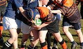 Schoolboy rugby / football play