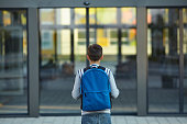 Schoolboy stands in front of the school door. Back to school.