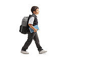 Full length profile shot of a schoolboy with a backpack walking isolated on white background