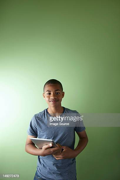 Schoolboy with digital tablet
